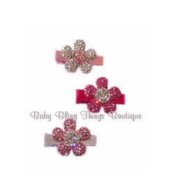 Swarovski Crystal Bling infant toddler girl Flower Hair Clip