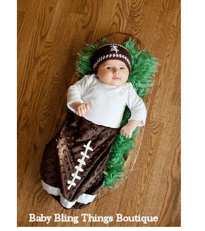 Football Minky Newborn Infant Layette Gown