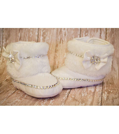 Fur Baby Boots with Swarovski Crystals