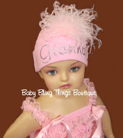 Personalized Rhinestone Crystal Feather Baby Hat Cap