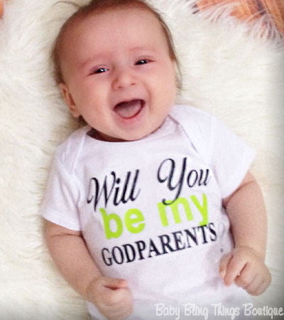 Will You Be My Godparents Baby Bodysuit Shirt