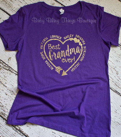 Mother's Day Heart Shirt with Kids Names Shirt