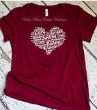 Family Names in shape of a heart Mother's Day Shirt