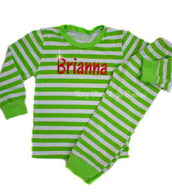 Green Stripe Personalized Christmas Kids Pajamas