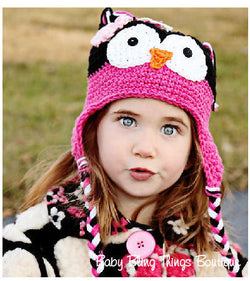Hot Pink Owl Crochet Knit Hat