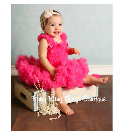 Hot Pink Chiffon Ruffle Petti Skirt Top Set