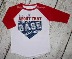 All About That Base Glitter Girls Kids Raglan Shirt