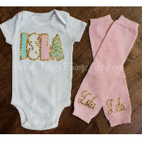 Custom Personalized Newborn Girl Take Me Home Bodysuit Set