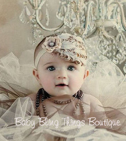 Ivory Bling Feather Baby Headband