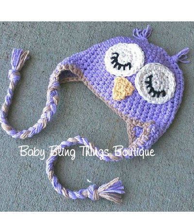 Lavender Purple Owl Knit Crochet Infant Toddler Hat