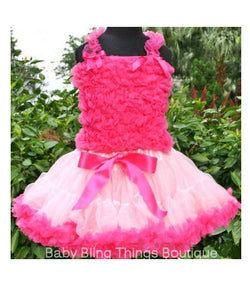 Hot Pink and Light Pink Chiffon Ruffle PettiSkirt Set