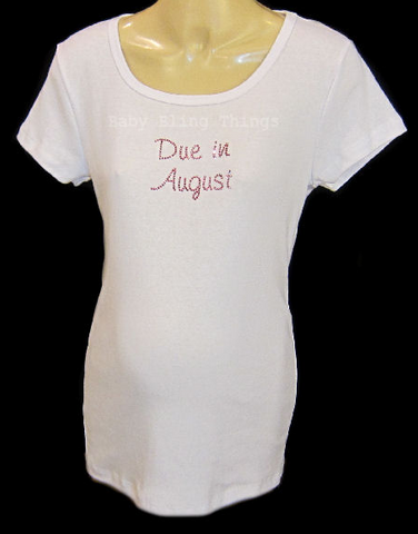 Maternity Swarovski Crystal Due in Month Shirt