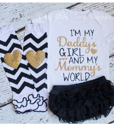 I'm My Daddy's Girl and My Mommy's World Glitter Infant Bodysuit