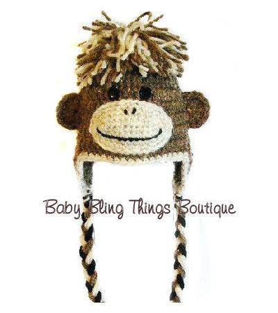 Crochet Brown Monkey Knit Baby Toddler Hat