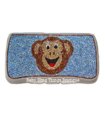 Monkey Swarovski Crystal Diaper Wipe Case