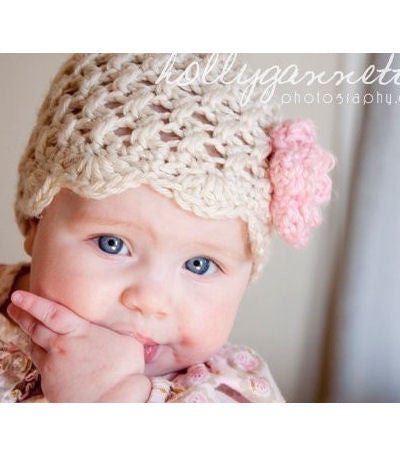 Natural with pink flower knit crochet infant newborn hat