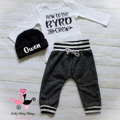 New to the crew baby boy coming home outfit