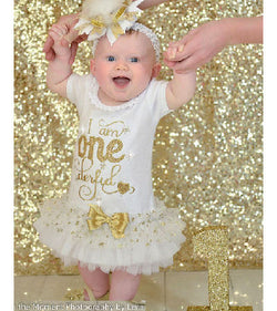 ONE derful First Birthday Gold Glitter Dress