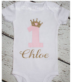 First Birthday Gold Glitter Crown Personalized Bodysuit