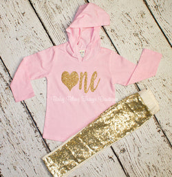 Gold Glitter ONE Sparkle Pants Top First Birthday Set