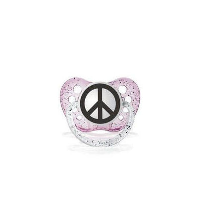 Pink Peace Sign Pacifier