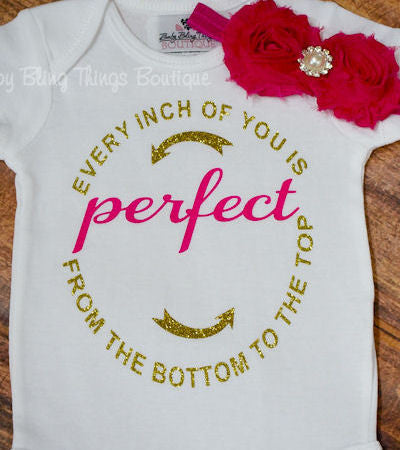 Every Inch of You is Perfect Glitter Baby Bodysuit
