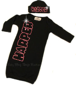 Newborn Baby Personalized Rhinestone Black Layette Gown Set
