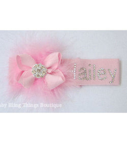Personalized Swarovski Crystal Marabou Baby Headband Bow