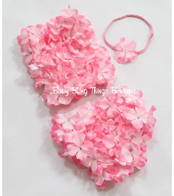 Pink flower petal baby bloomer set
