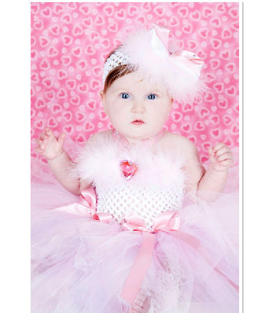 Pink Valentine Diamond Marabou Baby Tutu Dress