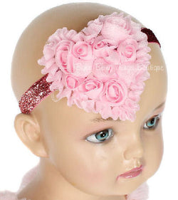 Shabby Pink Rose Heart Sparkle Headband