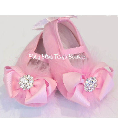 Pink Marabou Bow Baby Shoes