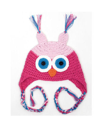 pink owl crochet knit baby infant hat