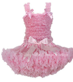 Pink Chiffon Ruffle Petti Skirt Top Set