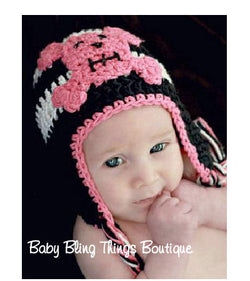 Pink Skull Knit Crochet Hat
