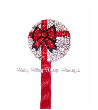 Present Rhinestone Crystal Bling Pacifier Attacher Clip