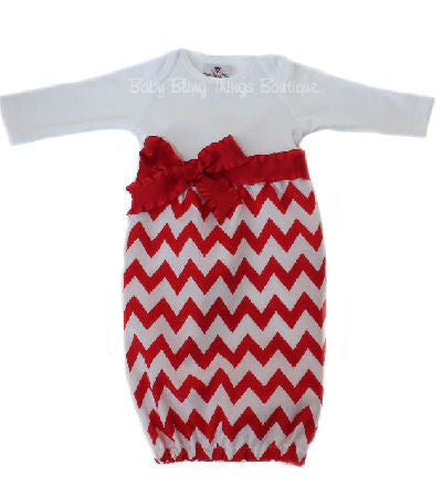 Red Chevron Layette Baby Gown with ruffle bow