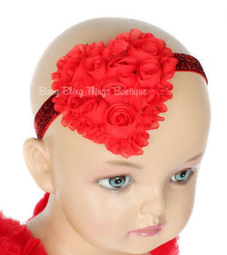 Shabby Red Rose Sparkle Heart Headband