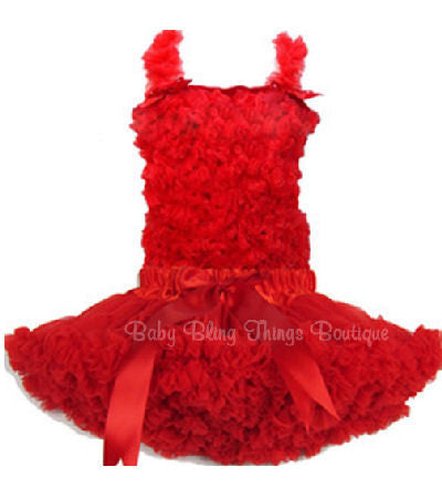 Red Chiffon Ruffle Petti Skirt Top Set Infant Toddler Girls