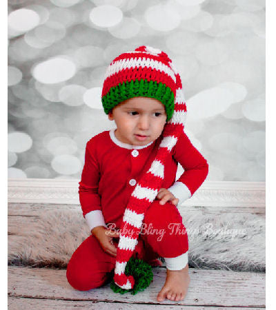 Red White Stripe Christmas Elf Hat with Dark Green Trip