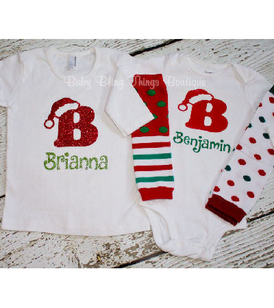 initial personalized santa hat christmas shirt baby bling things boutique
