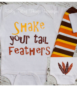 Shake Your Tail Feathers Thanksgiving Turkey Bodysuit Shirt