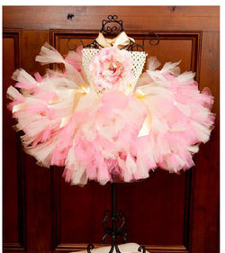 Silk Garden Ivory & Pink Baby Toddler Tutu Dress