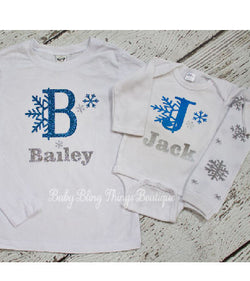 Initial Personalized Snowflake Kids Shirt