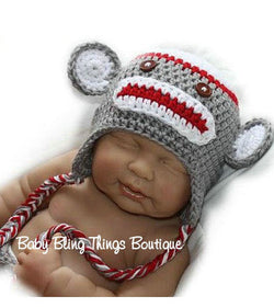 Sock Monkey Knit Crochet Infant Toddler Hat
