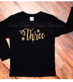Birthday Gold Glitter Sparkle Age Shirt