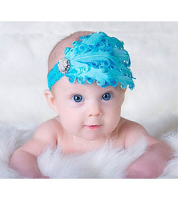 Turquoise Bling Feather baby Headband