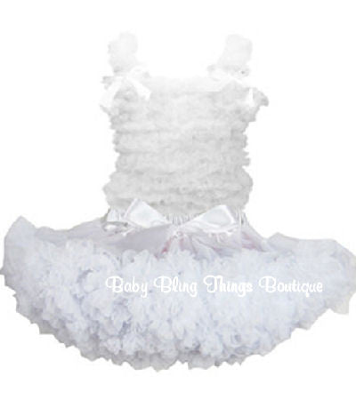 White Chiffon Ruffle Petti Skirt Set