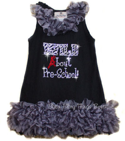 Wild About School Rhinestone Zebra Chiffon Ruffle Dress