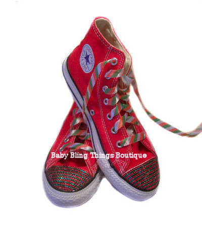 96bbc82494eb Womens Christmas Stripe Swarovski Crystal Converse Shoes – Baby Bling  Things Boutique